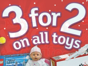 Argos 3 for 2 on all toys. Ends Tuesday 13th November 2012.