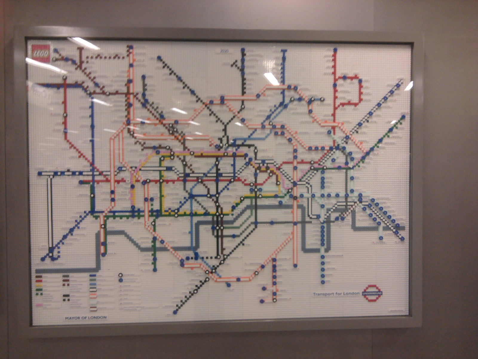 LEGO Underground map showing future Crossrail in Kings Cross ticket hall