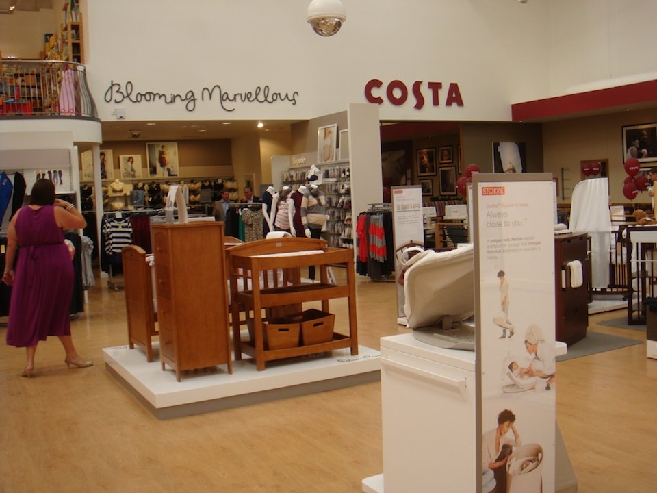 Blooming Marvellous and Costa Coffee feature in the refurbish Mothercare store in Edmonton.