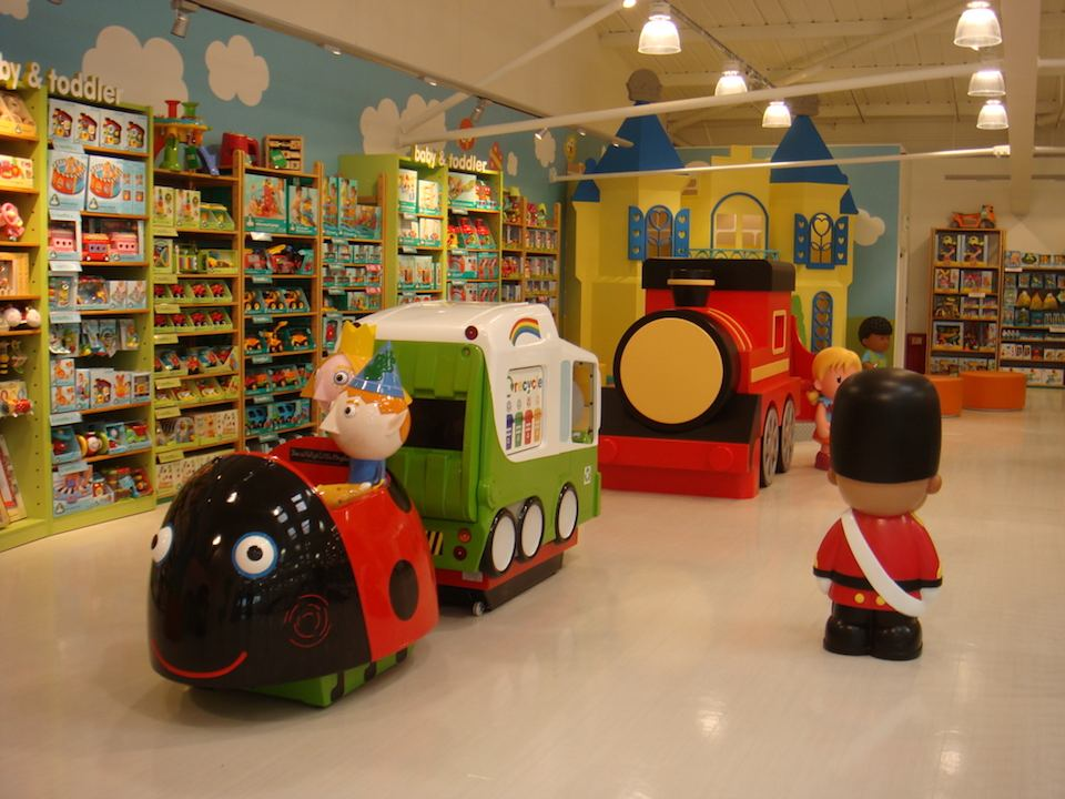 Ben & Holly and Ice Cream Van kiddie-rides await your coins in Mothercare Edmonton.