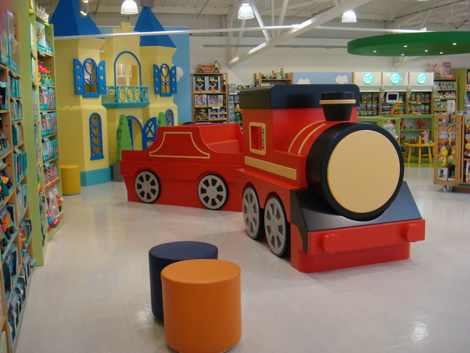 A Happyland steam train stops to pick up passengers in the ELC section of Edmonton's Mothercare.