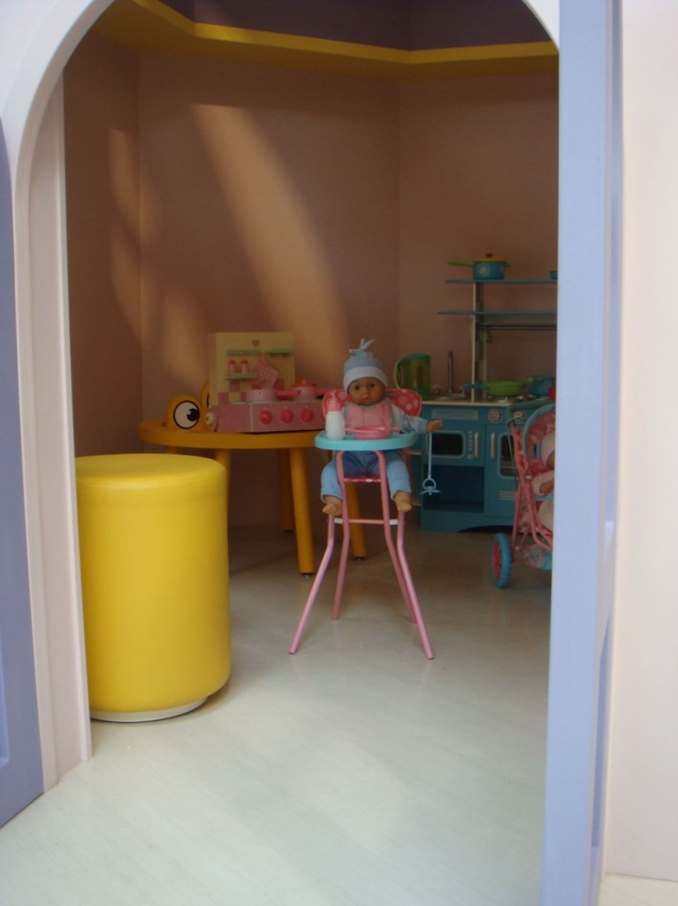 Inside the big pink windmill featured on the first floor of Mothercare, home to an Early Learning Centre department.