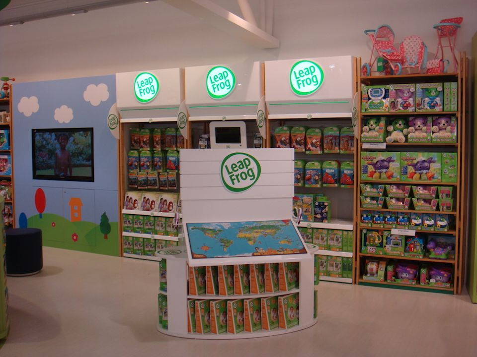 Leapfrog products, including the LeapPad, on display in the ELC concession in Mothercare Edmonton, London.