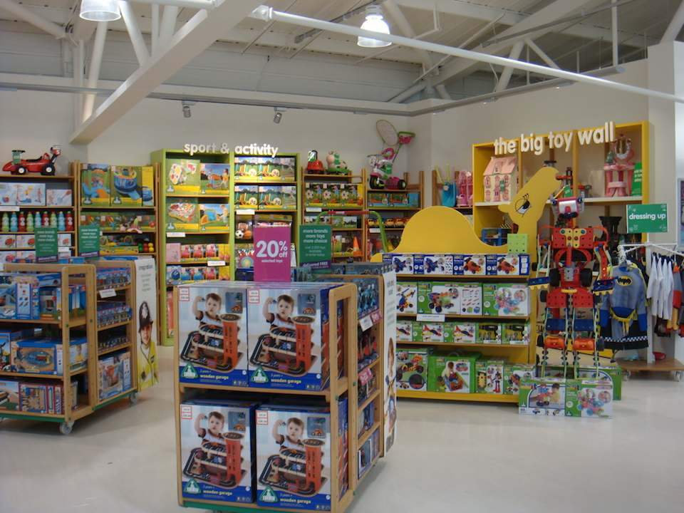Wooden garages and the Build-It range in Early Learning Centre.