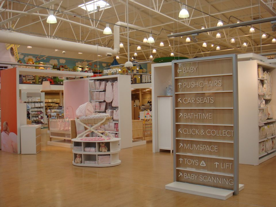 A view of the nursery department from the entrance to the newly redesigned Mothercare in Edmonton.