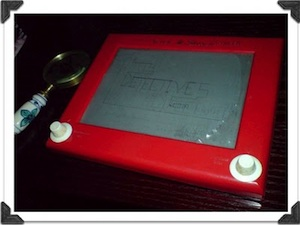 Etch A Sketch on The Toy Detective's desk