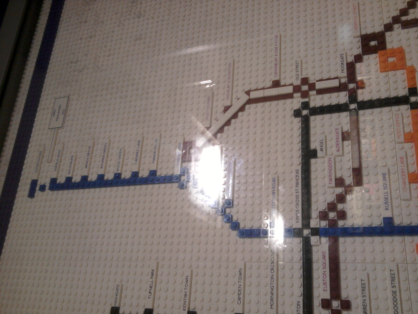 LEGO 1933 Harry Beck Underground Map in Piccadilly Circus close up showing Enfield West