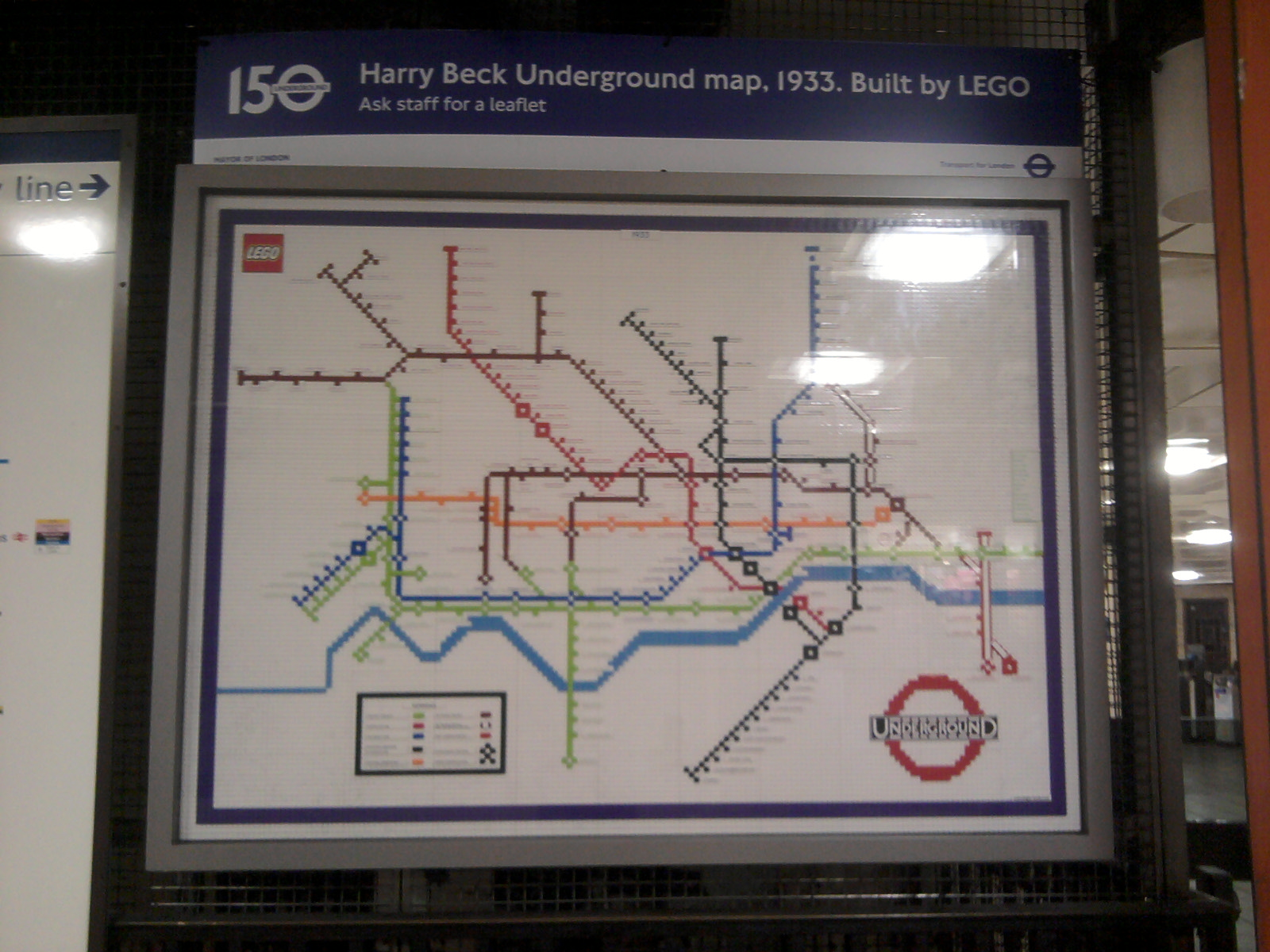LEGO 1933 Harry Beck Underground Map in Piccadilly Circus ticket hall