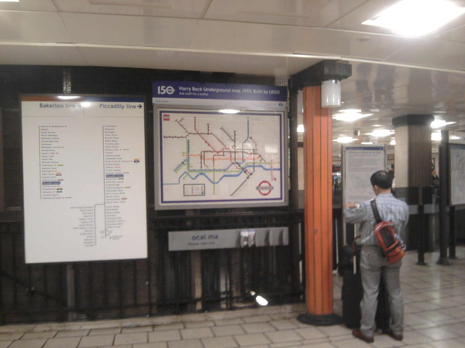 LEGO 1933 Harry Beck Underground Map in Piccadilly Circus