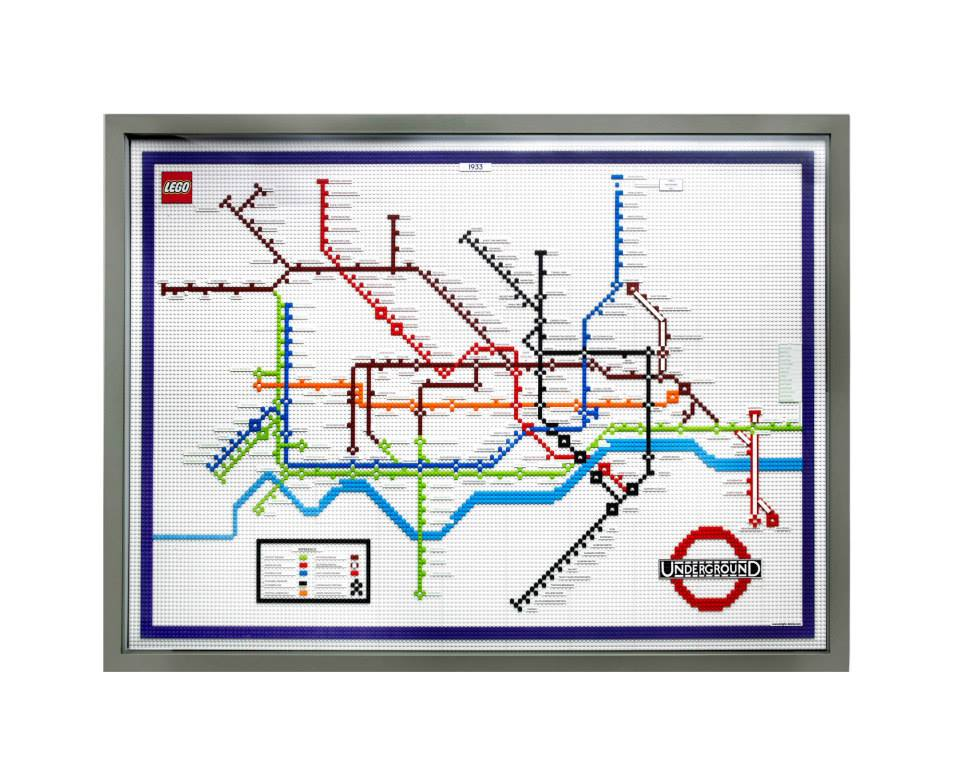 Lego 1933 Tube Map displayed at Piccadilly Circus