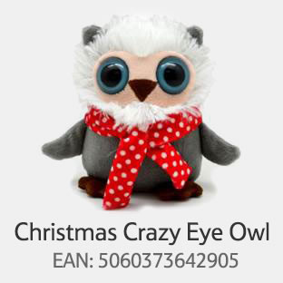 Recalled Horizon Procurement Plush Christmas Crazy Eye Owl sold at Tesco