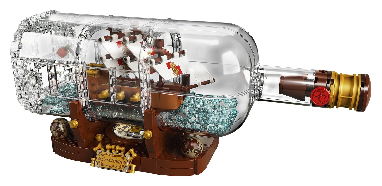 LEGO Ideas Ship in a Bottle - on stand