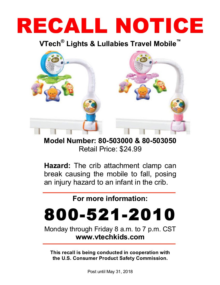 Recall notice poster for VTech Lights and Lullabies Travel Mobile for cots
