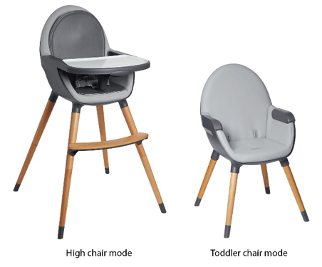Recalled Skip Hop Tuo Convertible High Chairs due to fall hazard