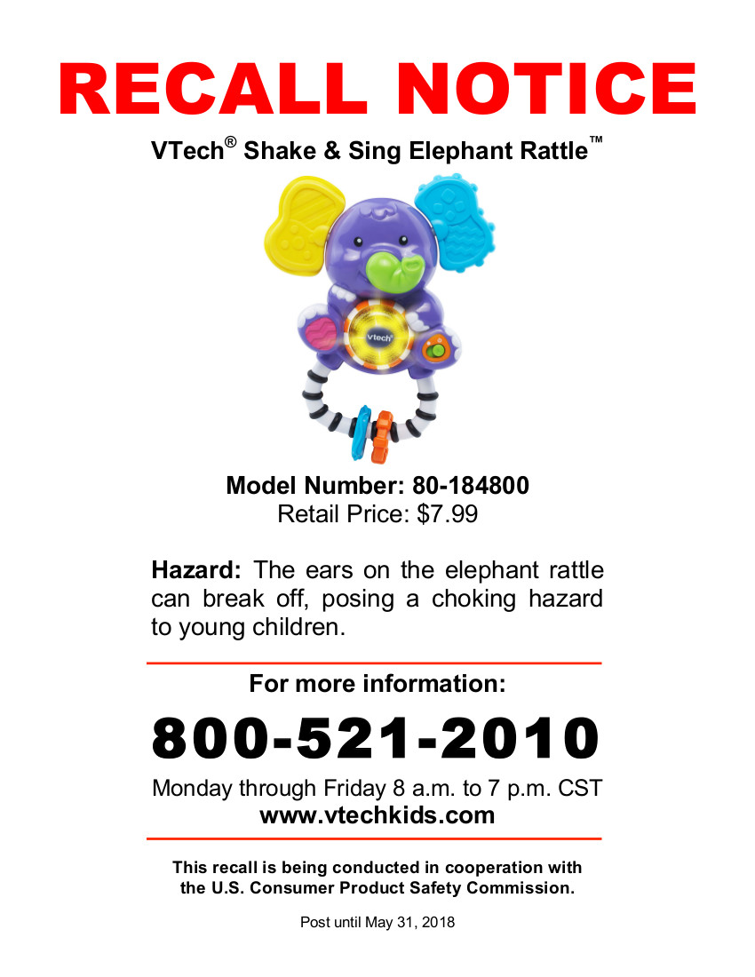 VTech Recall Poster Shake Sing Elephant Rattle 011618