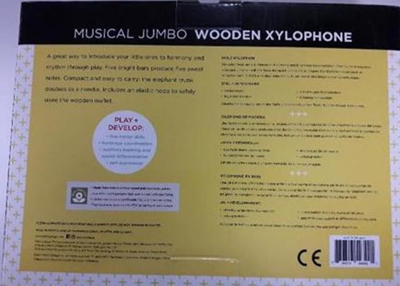 Rear of the box of recalled Wild & Wolf Petit Collage Musical Jumbo Xylophone
