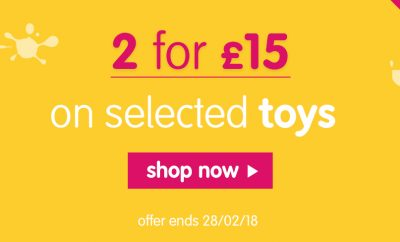 Early Learning Centre 2 for £15 offer on selected toys - February 2018