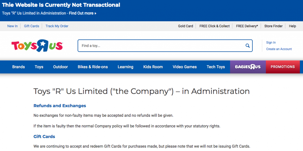 Toys R Us UK administration -screen shoot of website