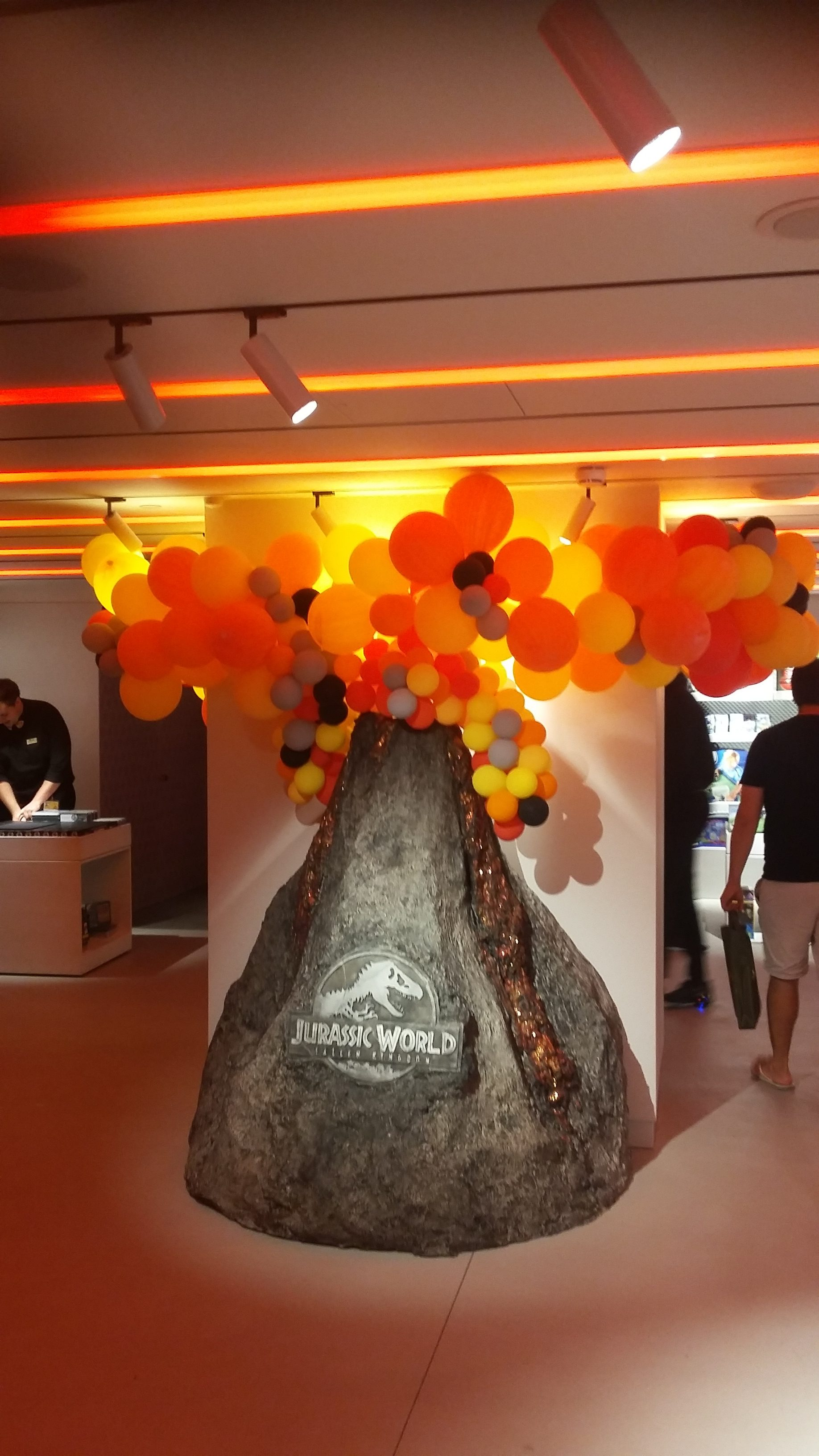 Harrods - Jurassic World volcano prop on display