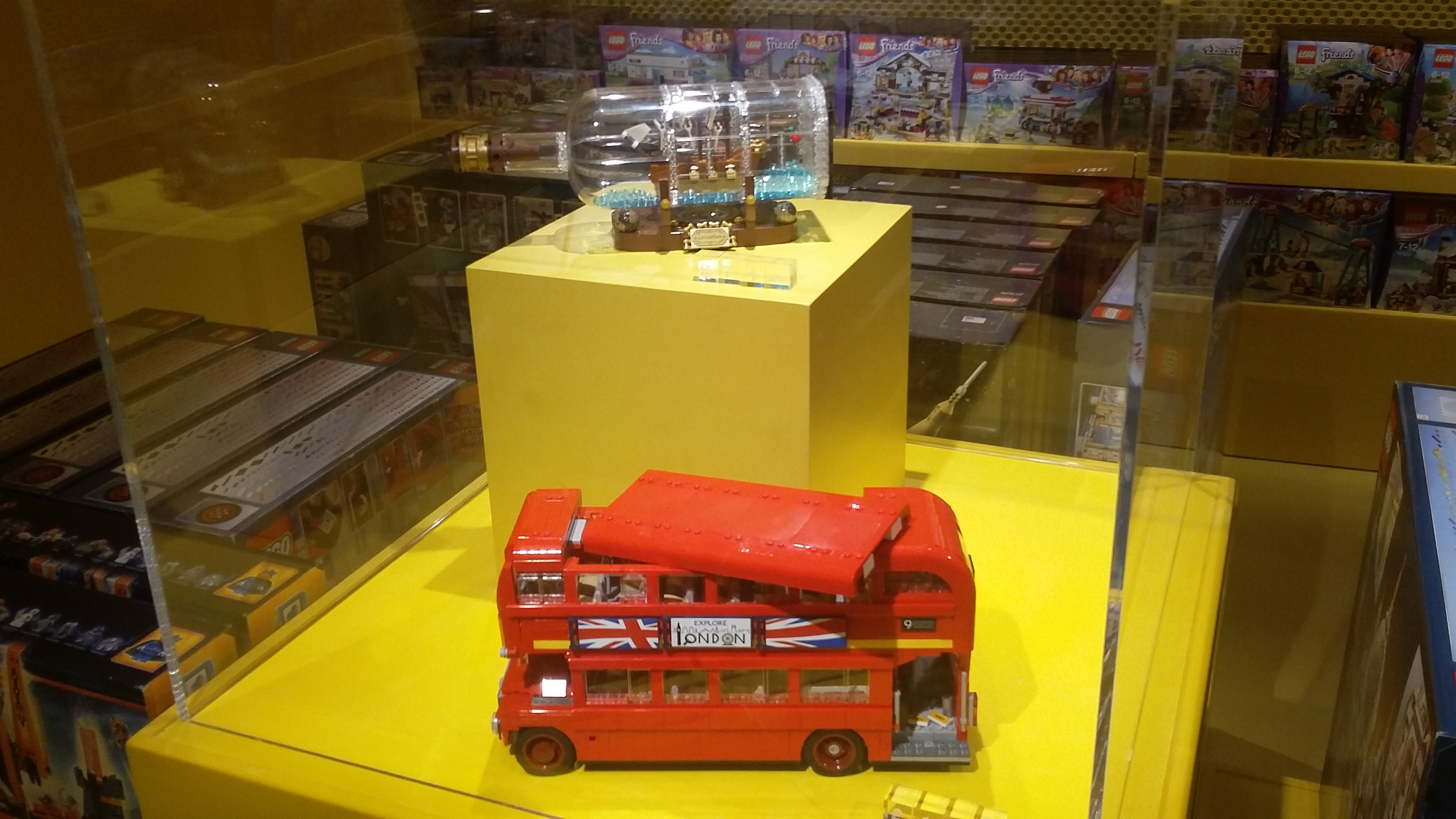 Harrods - LEGO Ship in a Bottle and London Bus display