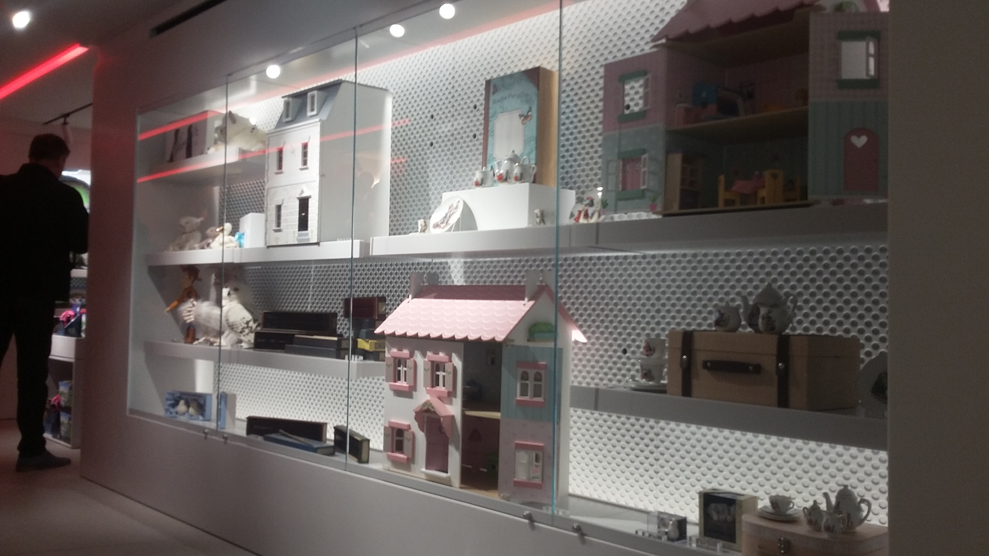 Harrods - doll house and tea sets on display