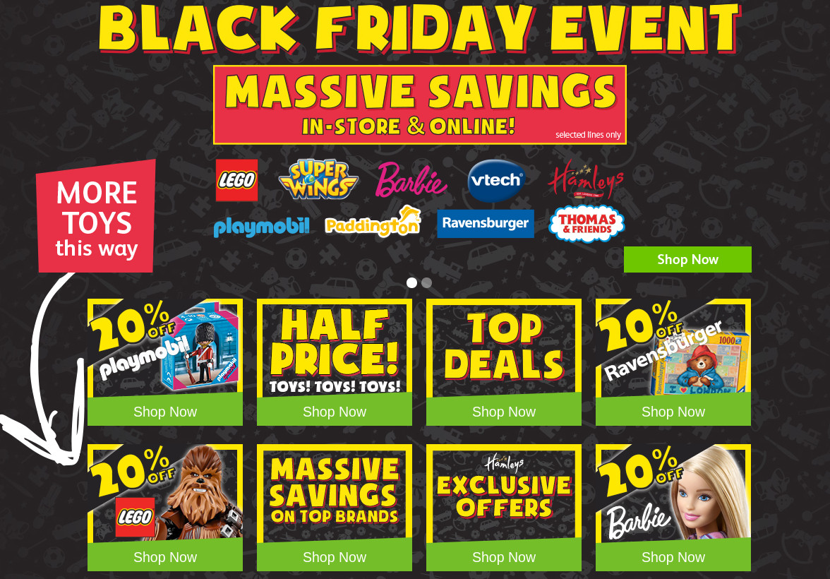 Hamleys Black Friday 2018 LEGO Playmobil Barbie Vtech