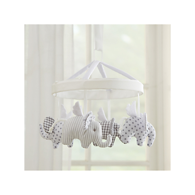 Picture of Pottery Barn Kids Flying Elephant Crib Mobile, Grey/White