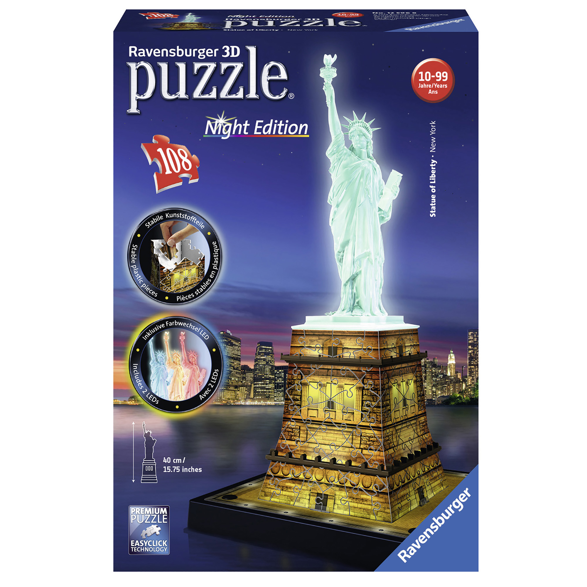 Picture of Ravensburger Statue of Liberty 108pc 3D Night Edition Jigsaw