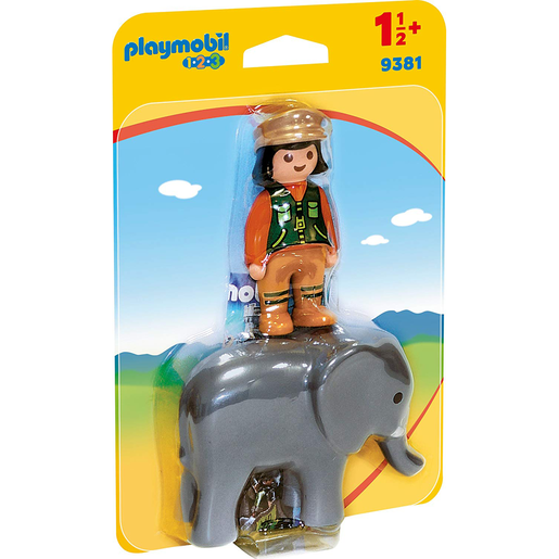 Picture of Playmobil 9381 1.2.3 Zookeeper and Elephant