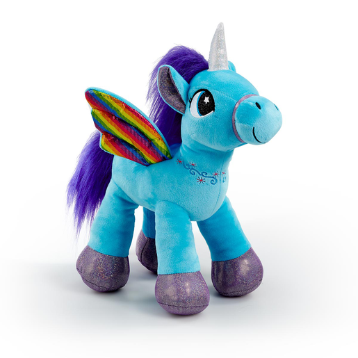 Picture of Snuggle Buddies Rainbow Flutter Unicorn Soft Toy - Blue