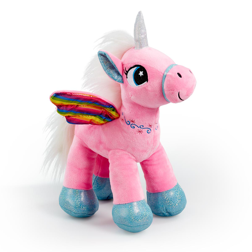 Picture of Snuggle Buddies Rainbow Flutter Unicorn Soft Toy - Pink