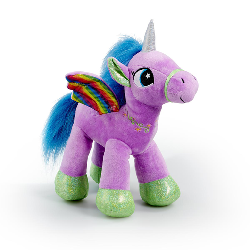 Picture of Snuggle Buddies Rainbow Flutter Unicorn Soft Toy - Purple