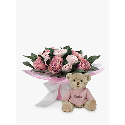 Picture of Babyblooms Luxury Baby Clothes Bouquet and Personalised Bertie Bear Soft Toy, Light Pink