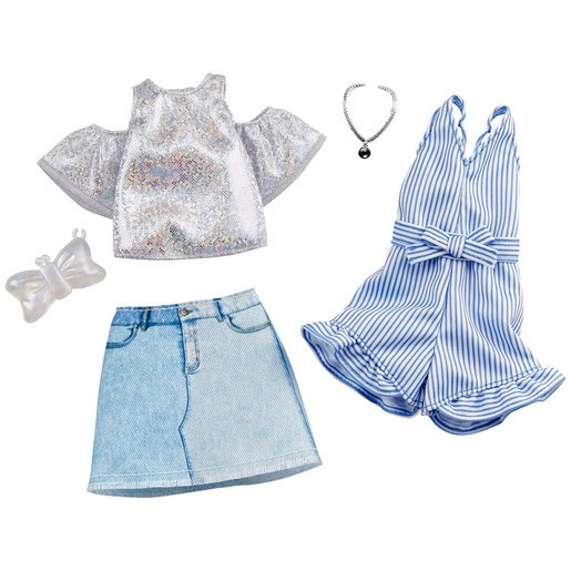 Picture of Barbie Fashions Striped Playsuit and Denim Skirt Outfits- 2 Pack