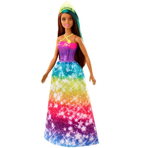 Picture of Barbie Dreamtopia Princess Doll - Brown Hair and Rainbow Glitter Dress
