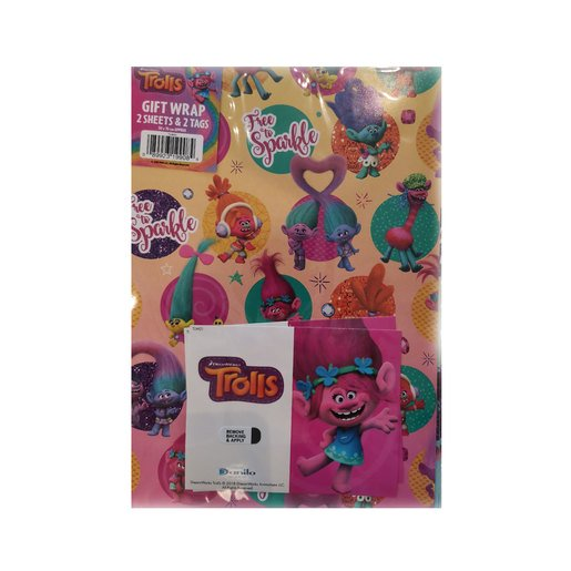 Picture of DreamWorks Trolls Wrapping Paper - 2 Sheets and 2 Tags