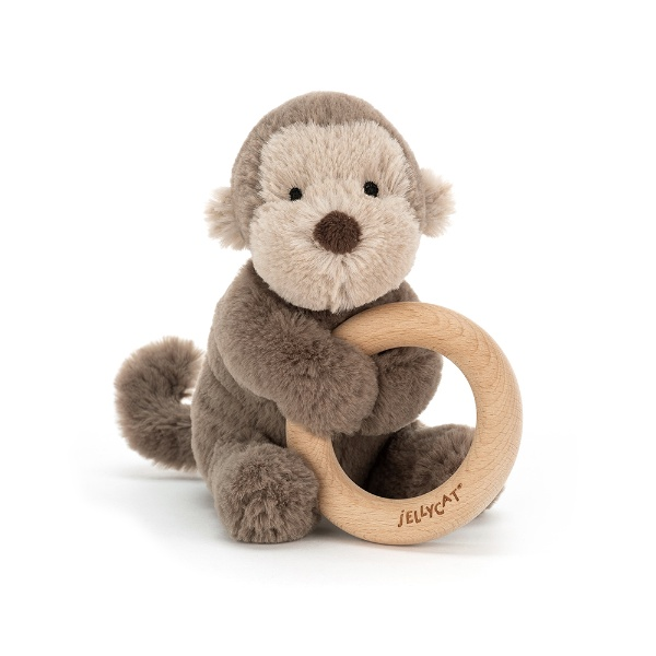 Picture of Jellycat Shooshu Monkey Wooden Ring Toy