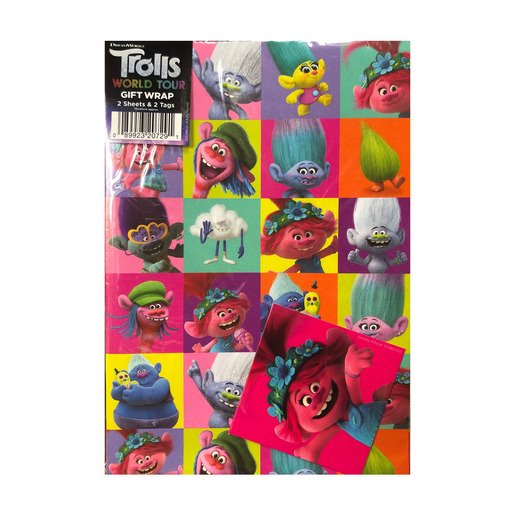 Picture of Trolls World Tour Wrapping Paper - 2 Sheets and 2 Tags