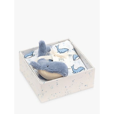 Picture of Jellycat Wilbur Whale Soft Toy and Printed Muslin Set, Blue/White