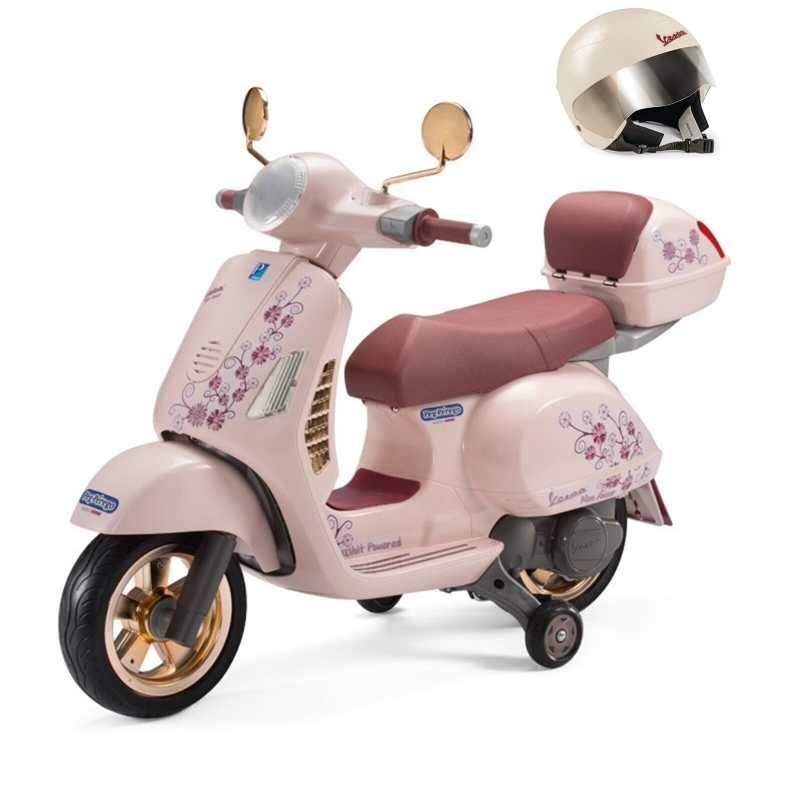 Picture of Peg Perego Electric Ride On Bike & Helmet Rose Gold