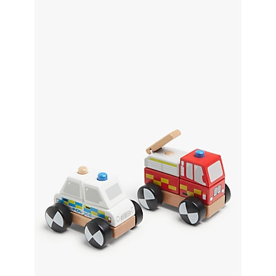 Picture of John Lewis & Partners Wooden Police & Fire Truck Set