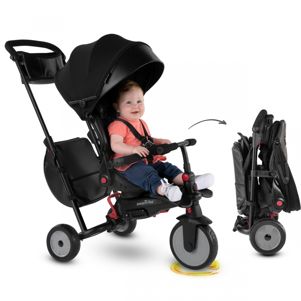 Picture of SmarTrike 8in1 Folding Baby Tricycle STR7-Black (NEW)