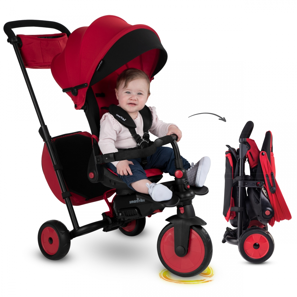 Picture of SmarTrike 8in1 Folding Baby Tricycle STR7-Red (NEW)
