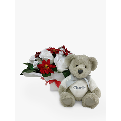 Picture of Babyblooms Christmas Luxury Baby Clothes Bouquet and Personalised Berkeley Bear Soft Toy