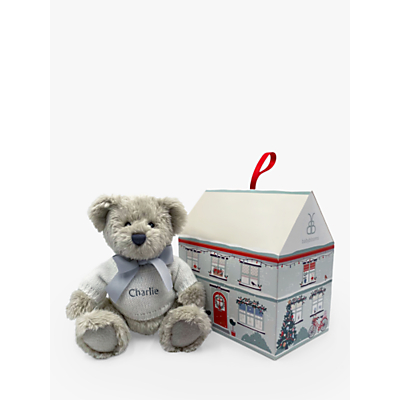 Picture of Babyblooms Personalised Christmas Berkeley Bear Soft Toy with Christmas Box House, White