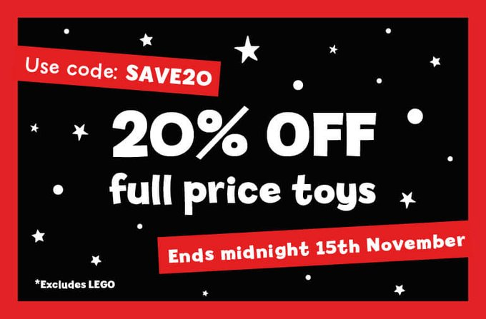 20% OFF full price toys at The Entertainer and ELC