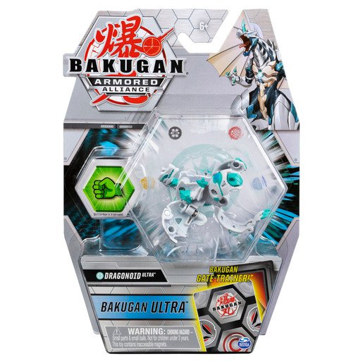 Picture of Bakugan Armored Alliance Ultra Trading Card and Figure - Dragonoid (White)