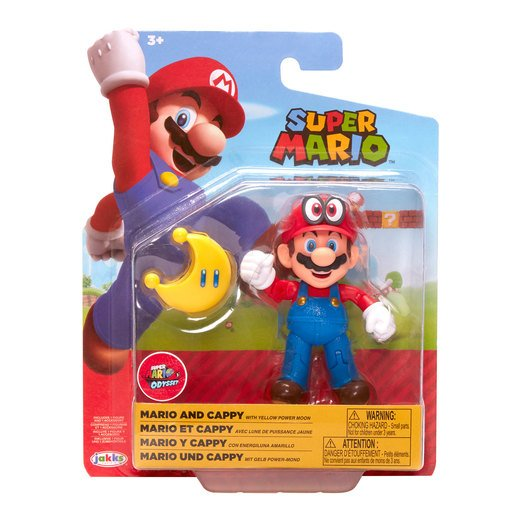 Picture of Super Mario 10cm Figure - Mario wearing Cappy with Yellow Power Moon